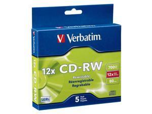 Verbatim CD-RW 700MB 4X-12X High Speed with Branded Surface - 5pk Slim Case