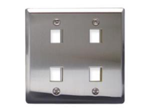 ICC IC107DF4SS FACEPLATE, STAINLESS STEEL,2-GANG,4-PORT