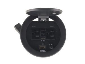 Kramer RTBUS-24(B) Round Table Connection Bus with 2 US Power Sockets/2 USB Chargers and 1 HDMI Connector