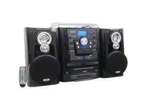JENSEN JMC-1250 Bluetooth 3-Speed Stereo Turntable Music System with 3-CD Changer & Dual Cassette Deck