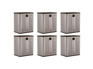 Suncast 9 Cu Ft Heavy Duty Resin Garage Base Storage Cabinet, Platinum (6 Pack)
