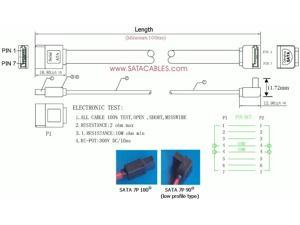 """SATACables 13"""" Low Profile Straight to Right SATA Cable - LP30SR330"""