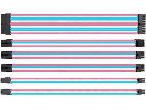 upHere Sleeved Cable - Cable Extension for Power Supply with Extra-Sleeved 24-PIN 8-PIN 6-PIN 4+4 PIN-Pink Blue White with Cable Combs(11.8 inch/30CM)(SC306)