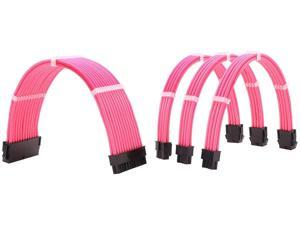 Sleeved Cables PSU Extension Kit 18AWG 30cm ATX 24pin,CPU4+4p,PCI-E 6+2p for ATX Power Supply Cable with Black Cable Comb (Pink)