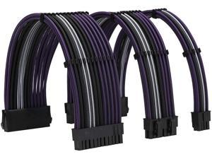 FormulaMod Power Supply Sleeved Cable 18AWG ATX 24P+ EPS 8-P+PCI-E8-P PSU Extension Cable Kit 30cm Length with Combs (Black-Purple Black-White Black)