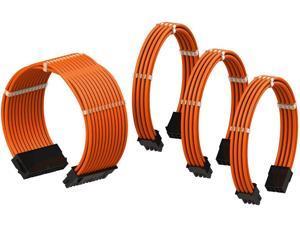 PSU Cable Extension Sleeved Custom Mod GPU PC Power Supply Braided w/Comb Kit   1x 24 P (20+4)   1x 8 P (4+4) CPU   2X 8 P (6+2) GPU Set   50CM 500MM - Orange