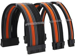 FormulaMod Sleeve Extension Power Supply Cable Kit 18AWG ATX 24P+ EPS 8-P+PCI-E8-P with Combs for PSU to Motherboard/GPU Fm-NCK3 (Black Orange Grey)