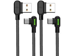 USB Type C 90 Degree Right Angle Elbow Design Game LED Nylon Braided Sync Charge USB Data 6FT/1.8M Cable Compatible Samsung Galaxy Note 9, Note 8, S9 S8 Pixel (Black 6FT (Type C))