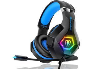 Beexcellent Gaming Headset PS4 Headset Pro 7.1 Surround Sound Noise Canceling Flexible Mic with 2pcs Mic Cover RGB LED Light Memory Earmuffs for Xbox one Nintendo Switch PC