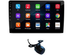 Double Din Car Stereo 10.1 inch Android Touchscreen Car Radio with Bluetooth FM WiFi GPS Navigation Mirrorlink CarPlay 2G/16G Car Stereo with Backup Camera Video Player + LED Reverse Backup Camera