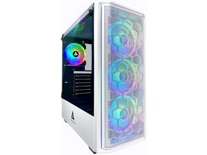 Apevia Predator-WH Mid Tower Gaming Case with 1 x Tempered Glass Panel, Top USB3.0/USB2.0/Audio Ports, 4 x RGB Fans, White Frame