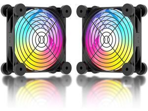 upHere N12U06 USB Fan Dual-Ball Bearings,Dynamic Rainbow LED,Silent 120mm Fan for Computer/PC/PS4/PS5/TV Box/AV Cabinet,N12U06