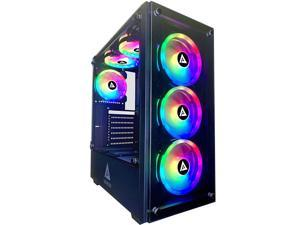 Apevia Genesis Pro G-PRO-BK Mid Tower Gaming Case with 2 x Tempered Glass Panel, Top USB3.0/USB2.0/Audio Ports, 6 x RGB Fans, Black Frame