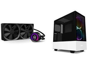 NZXT Kraken X53 240mm - AIO RGB CPU Liquid Cooler - AER P 120mm Radiator Fans (2 Included) & H510 - CA-H510B-W1 - Compact ATX Mid-Tower PC Gaming Case - Water-Cooling Ready - White/Black