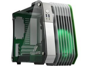 Enermax STEELWING Green Tempered Glass Micro ATX Aluminum Computer Case With patented circular-type LED fan, ECB2010G