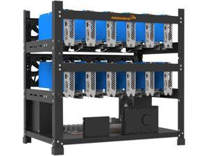 sbay GPU Mining Rig Steel Opening Air Frame Mining Mining Frame Rig Case Up to 12 GPU for Crypto Coin Currency Mining