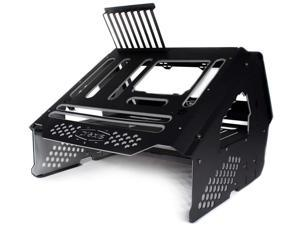 PrimoChill's Praxis Wetbench Powdercoated Steel Modular Open Air Computer Test Bench for Watercooling or Air Cooled Components(Black with Solid Grey Accents) - Black w/Solid Grey Accents
