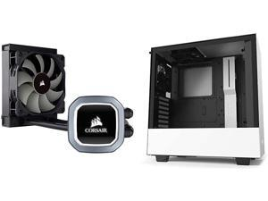 Corsair Hydro Series H60 AIO Liquid CPU Cooler & NZXT H510 - CA-H510B-W1 - Compact ATX Mid-Tower PC Gaming Case - Front I/O USB Type-C Port - Tempered Glass Side Panel - White/Black