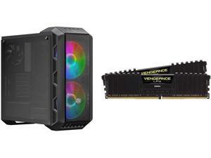 Cooler Master MasterCase H500 ARGB Airflow ATX Mid-Tower with Mesh & Transparent Front Panel Option & Corsair Vengeance LPX 16GB (2x8GB) DDR4 DRAM 3200MHz C16 Desktop Memory Kit - Black