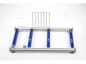 Mini ITX MATX ATX PC Test Bench Open Air Frame Overclock Case Computer Mount Aluminum Chassis for HTPC Graphics Card (ATX Silver and Blue)