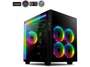 anidees AI Crystal Cube AR V3 Dual Chamber Tempered Glass EATX / ATX PC Gaming Computer Case, Water-Cooling Ready , Steel Structure, w/ 5 RGB PWM Fans / 2 LED Strips - Black AI-CL-Cube-AR3