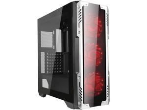 GOLDEN FIELD Z2 PC Case, Pre-Installed 3 Red LED Fans, Gaming Computer Case, Mid Tower ATX Cases, Tempered Glass 3 Side Panels
