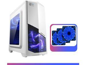 Gaming Computer PC Case For Desktop Computer PC Desktop computer case-main computer case-tempered glass side panel case-cable management system-water cooling possible-game computer PC case (black/whit