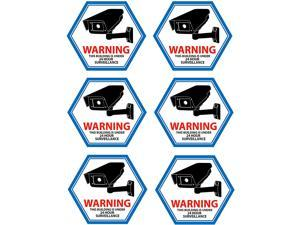 Mandala Craft Security Camera Decal Warning Window Stickers, CCTV Video Surveillance Recording Signs from Vinyl for Indoors, Outdoors; Back Adhesive Blue