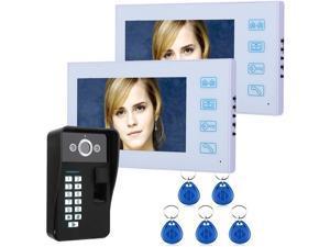 HBHYQ 7 inch TFT 2 Monitor Fingerprint Recognition RFID Password Video Door Phone Intercom Doorbell with Night Vision Security CCTV Camera Home Surveillance