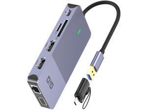 USB Docking Station GIQ USB C Hub USB 3.0 to Dual HDMI VGA Adapter Triple Display USB C Laptop Docking Station Dual Monitors Compatible with MacBook M1 USB Dock