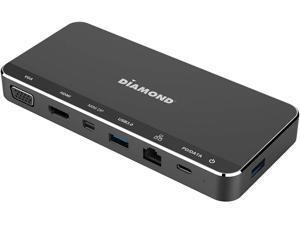 Diamond USB C Triple Display Mini MST Dock, Mini DP, HDMI, VGA, USB 3.0x2, Gigabit Ethernet PD Pass-Thru, up to 20V 3A. Compatible with Mac, Windows, laptops with USB C Ports (UD300C)