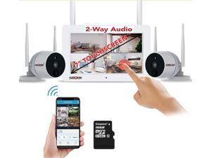 Two-Way Audio, Wireless Security Camera System with 7'' Touchscreen Monitor,2pcs 1080P Indoor/Outdoor Security Camera,PIR Motion Detection,16GB SD Included(CAM-WIFI-SCREEN7-3)