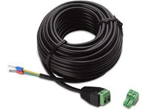 Vanxse CCTV 20Meters Power Extension Cable RS485 Signal Transmission Cable for Control CCTV PTZ Security Camera