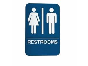 Don-jo HS-9070-03 Ada Compliant Sign, Restrooms Blue