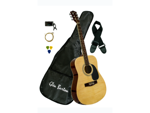 Premium 6 String Dreadnought Acoustic Guitar with Gig Bag, Strap, Spare Strings, Picks and Electric Tuner