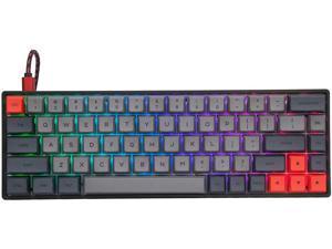EPOMAKER GK68XS 68 Keys Hot-swap RGB Bluetooth5.1 Wireless/Wired Mechanical Keyboard with Split Spacebar Module, 1900mAh Battery, Dye-subbed PBT GSA Keycaps (Gateron Blue Switch, Grey Black)
