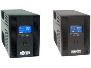 Tripp Lite SMART1500LCDT 1500VA 900W UPS Battery Back Up, Black & Lite SMART1300LCDT 1300VA UPS Battery Backup, AVR, LCD Display, 8 Outlets, 120V, 720W, 3 Year Warranty & $250,000 Insurance Black