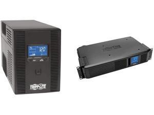 Tripp Lite 1300VA UPS Battery Backup, AVR, LCD Display, 8 Outlets, 120V, 720W, Tel & Coax Protection & 1500VA Smart UPS Battery Back Up, 900W Rack-Mount/Tower, LCD, AVR, USB, DB9