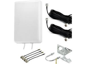 4G LTE Panel MIMO Antenna Kit, Fixed Mount Wide Band MIMO Antenna with Dual Cable SMA Cable Adapters and Mounting Kit, Frequencies 800-2700MHz, 2 x 8dBi Gain
