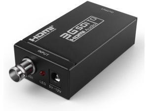 TNP HDMI to SDI Converter Adapter - Supports Full HD 1080P @ 60 to HD-SDI SD-SDI 3G-SDI Video Scaler Box Adaptor with Embedded Audio for HDMI Compatible TV Display Monitor (SDI to HDMI)