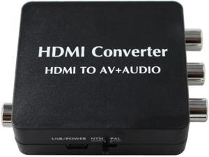 HDMI to AV and Audio Converter Support SPDIF Coaxial Audio NTSC PAL Composite Video HDMI to 3RCA Adapter for TV/PC/PS3/Blue-ray DVD 1080p