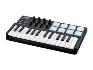 Monoprice SRK 25 Key Mini USB MIDI Keyboard Controller with 8 Velocity & Pressure Sensitive Pads, 4 Assignable Knobs, 4 Sliders - Stage Right Series
