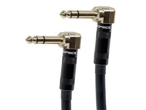 Monoprice Premier Series 1/4 Inch (TRS) Right Angle Male to Right Angle Male 16AWG Cable Cord - 25 Feet- Black (Gold Plated)