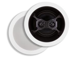 Monoprice 2-Way In-Ceiling Speakers - 6.5 Inch, Dual Input Stereo, Glass Composite Woofer (Pair) - Aria Series