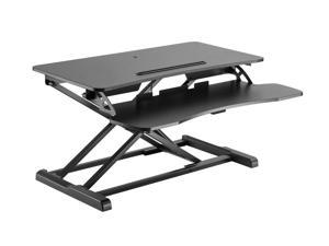 """Monoprice Sit-Stand Riser Workstation Desk Converter - Black (31.5 x 15.7in) Table Top for Single Display, Height Adjustable 4.2""""-19.7"""" Max"""