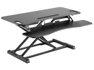 """Monoprice Sit-Stand Riser Workstation Desk Converter Large - Black (37.4 x 15.7in) Table Top for Dual Display, Height Adjustable 4.2""""-19.7"""""""