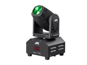 Monoprice Stage Right 10W Mini Beam Moving Head RGBW 4-in-1 LED Sound Active Party Light With Reversible Pan and tilt controls And Built-in automated color changing programs