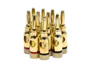 Monoprice High Quality Gold Plated Speaker Banana Plugs – 5 Pairs – Open Screw Type, For Speaker Wire, Home Theater, Wall Plates And More