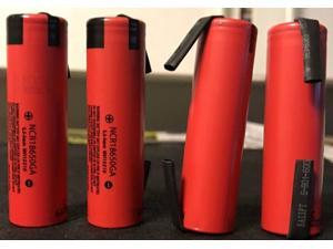 """4""  Panasonic NCR18650GA 3500mAh 10A 18650 Battery, w/ Tabs"