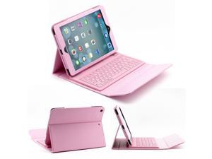 Silicone Bluetooth Keyboard Case For Apple iPad Air 2 / 1 Tablet, Slim PU Leather Folio Stand Case Cover + Soft QWERTY Keyboard